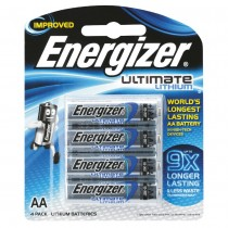 ENERGIZER ULTIMATE LITHIUM BATTERIES AA 4 PACK 1.5V