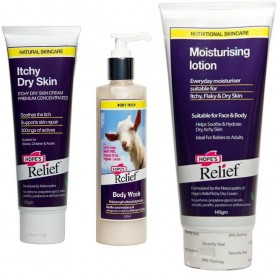 HOPE'S RELIEF COMBO, CREAM 60gm, GOATS MILK BODY WASH 250ml & MOISTURISING LOTION 145gm