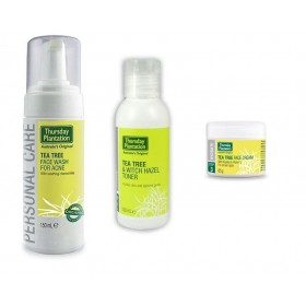 THURSDAY PLANTATION TEA TREE ACNE FACE WASH + WITCH HAZEL TONER + FACE CREAM COMBO
