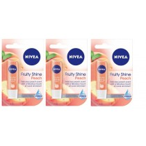3 x Nivea Lip Care Fruity Shine Peach