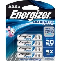 ENERGIZER ULTIMATE LITHIUM BATTERIES AAA 4 PACK 1.5V